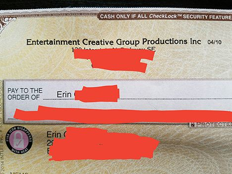 check from production company
